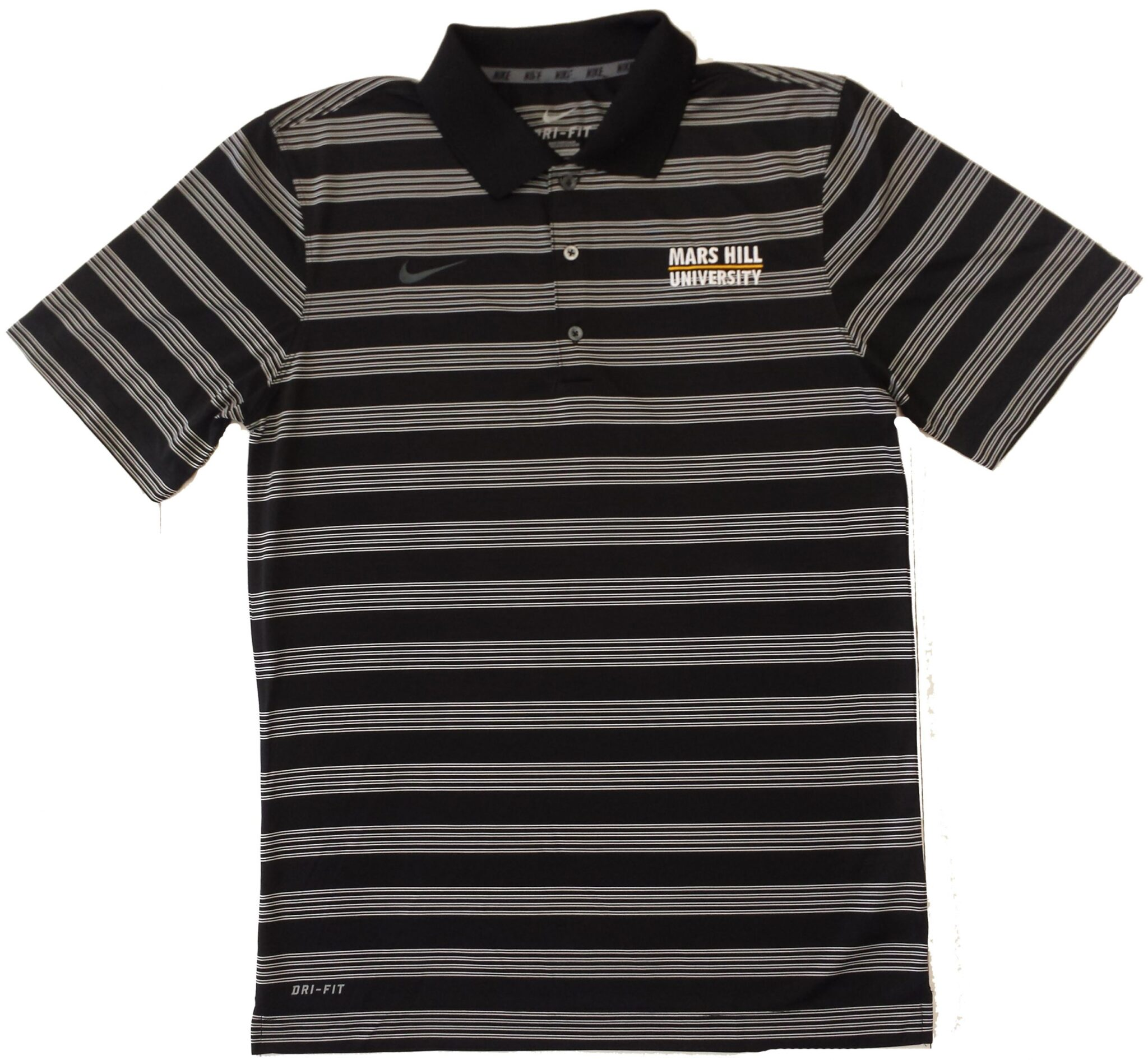 2f7bdee637 NIKE DRI-FIT BLACK WITH WHITE STRIPES POLO - Mars Hill University