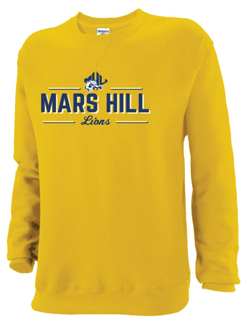414bfe594 JERZEES GOLD CREW NECK W/ATHLETIC LOGO & MARS HILL LION SCREEN PRINT ...
