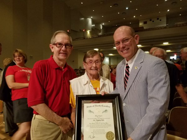 (l-r) Colby Cochran, Virginia Hart, MHU President Tony Floyd.