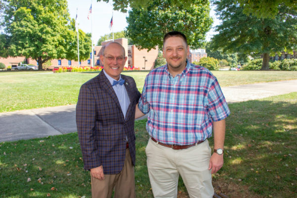 Mars Hill University President Tony Floyd with Jonathan Eatmon, recipient of the Blackwell Endowed Scholarship and Assistantship for Criminal Justice.