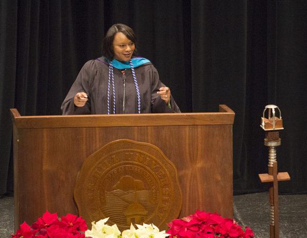 Terry Bellamy gives the keynote address at Mars Hill University's graduation ceremony on December 12, 2014.