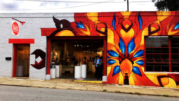 Exterior of North Carolina Glass Center on Roberts St. in Asheville.